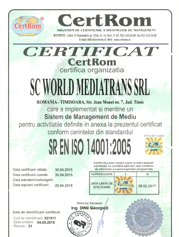ISO 14001: 2005 for enviroment