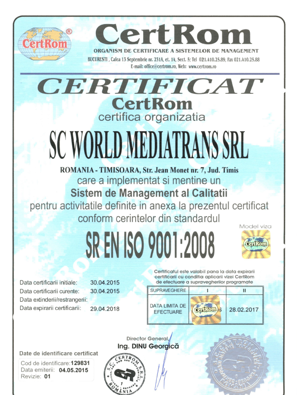 ISO 9001: 2008 for quality