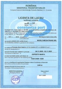 Constantza Port Working Licence
